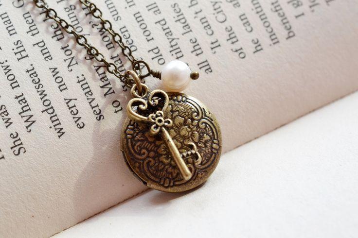 Locket de la llave maestra grabada collar del Locket del recuerdo por KimFong