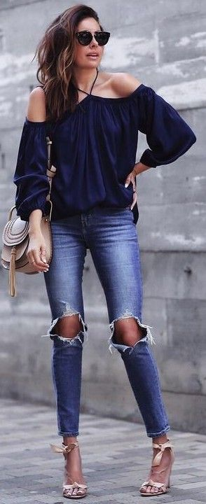 Off the Shoulder Top + Ripped Skinnies                                                                             Source