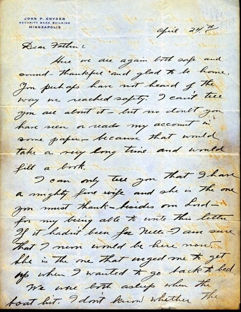 first page of a letter from john snyder regarding the sinking of the titanic