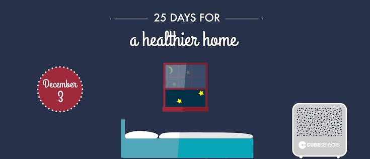 December 3: clear the air in your bedroom before going to sleep *** An hour before you usually go to bed is a good time to open the windows in your bedroom for a little while and check the humidity levels. If the relative humidity in your bedroom is below 45%, keep a humidifier running for the entire hour.