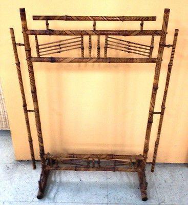 Antique Asian Tortoise Rattan Victorian Burnt Bamboo Fireplace Screen Frame
