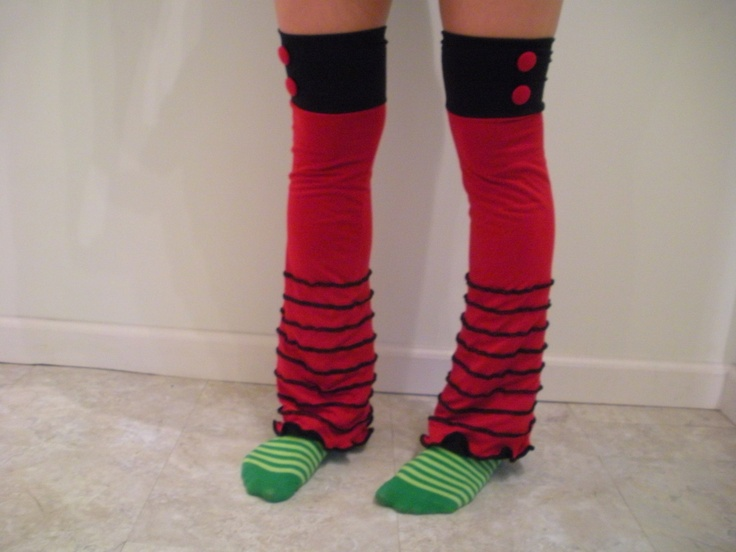 red and black leg warmers. $45.00, via Etsy.