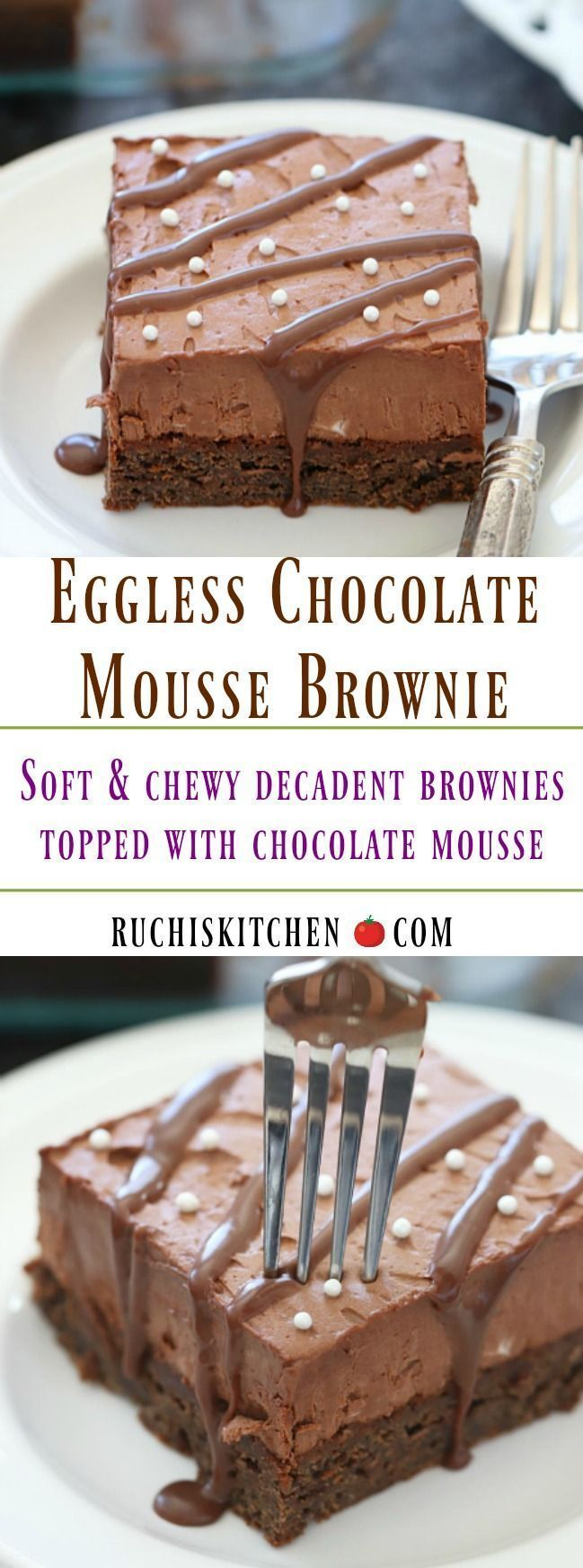Do you have a sweet tooth or a ravenous appetite? Then these delicious Eggless Chocolate Mousse Brownie is the right choice for you! These creamy and moist brownies have an enticing appeal to them and they can draw even the most rigid dieters intotheir grasps! #brownie #sweettooth #dessert #Yummy #delicious #chocolate