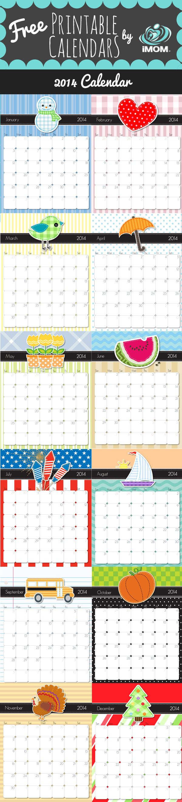 FREE Printable 2014 Calendar~  Click the download links under each month to download.