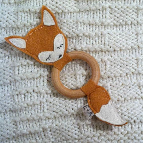 Woodland Fox Teething Ring by EmyAnnie on Etsy, $12.00