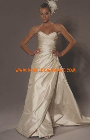 Romona Keveza robe vintage originale 2012 plissé robe de mariée taffetas