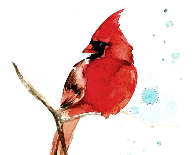 Kardinaal aquarel schilderij Fine Art Giclee Print / vogel schilderen / Wildlife schilderen / Bird minnaar cadeau