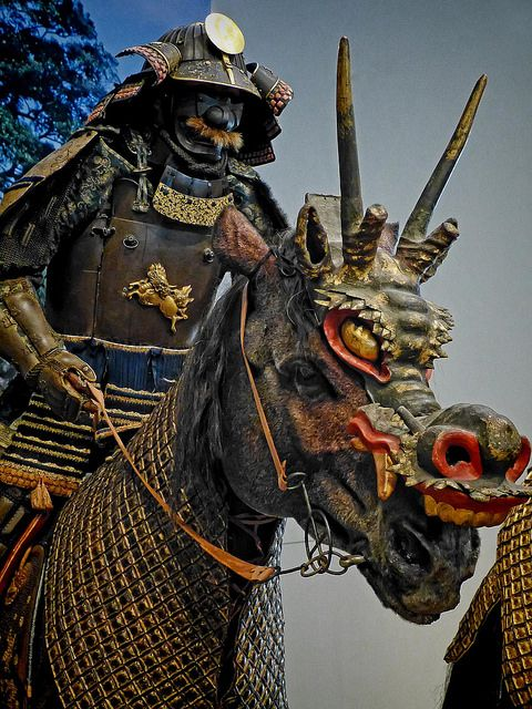 Mounted Samurai wearing Tatehagidō Armor with horse wearing a horned dragon mask Early Edo Period 17th century CE Japan by mharrsch