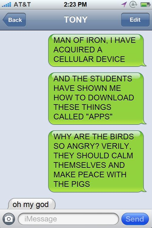 """""""Why are the birds so angry?"""" Ohmygoodness. Thor and human technology is the funniest thing ever."""