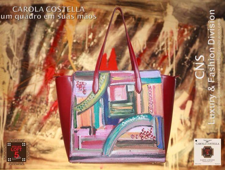Collezione borse Carola Costella Vera pelle e tela dipinta a mano Ogni disegno è' unico e irripetibile Made in Italy