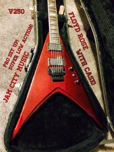 esp ltd v 250 flying v electric guitar rare pro set up low korea emghz fr case esp v 250. Black Bedroom Furniture Sets. Home Design Ideas