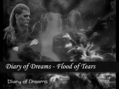 """Diary of Dreams - Flood of Tears ==== This is a slow slow song with emotional lyrics. It actually dates back to 1996-1997 I think. Beautiful, simple song that I used to deeply identify with. Full on gothic darkness. -laughs-  The chorus: """"Nobody had ever seen my flood of tears... I can't believe you found me here..."""" -Immortalis"""