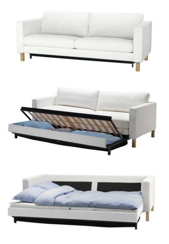 The KARLSTAD sofa bed has a storage space under the seat, for pillows and  large