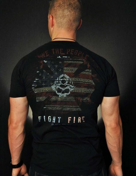 Nothing says AMERICAN FIREFIGHTER like the entire first article of the Constitution written inside a Maltese cross on our classic American Apparel black tee.   Black Helmet - We The People Classic Fire Shirt