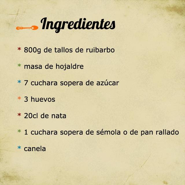 Ingrédients de la tarte à la rhubarbe