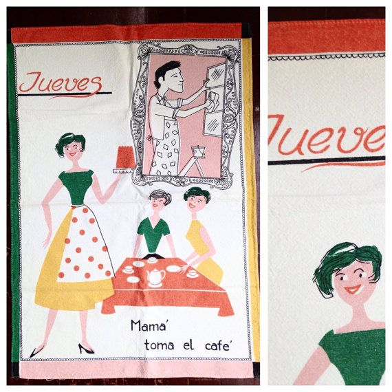 Vintage fifties tea towel says in Spanish by SpaceModyssey on Etsy
