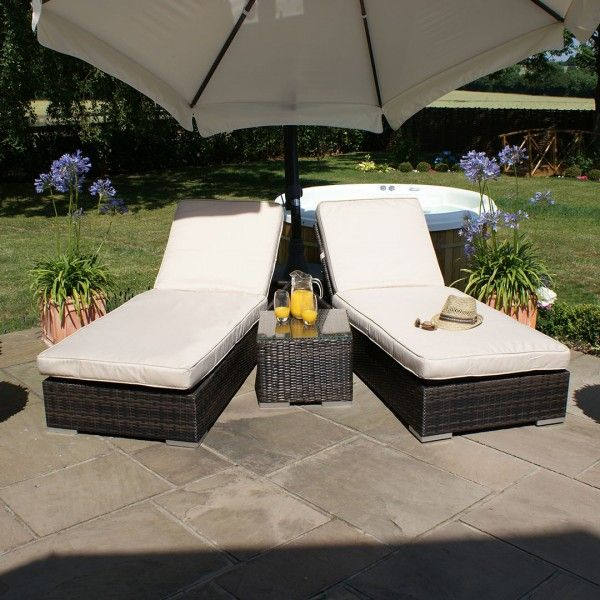 All Weather Orlando Outdoor Rattan Garden Furniture Sun Lounger Set   Brown  Price