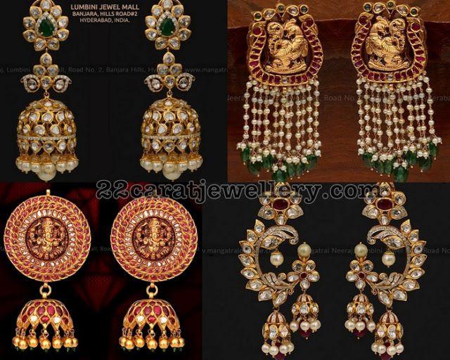 8477b95f70a21 Pachi Work Jhumkas by Mangatrai Neeraj   Traditional Gold Jhumkas ...