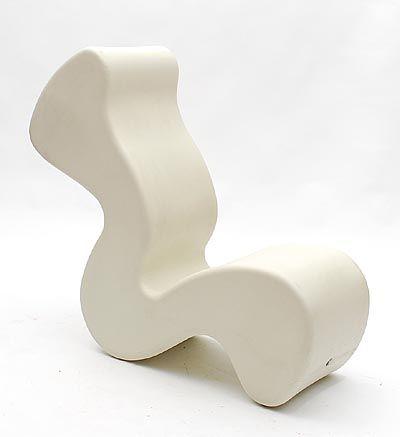 White plastic Lounge chair Phantom design Verner Panton 1998 for Innovation Randers / Denmark