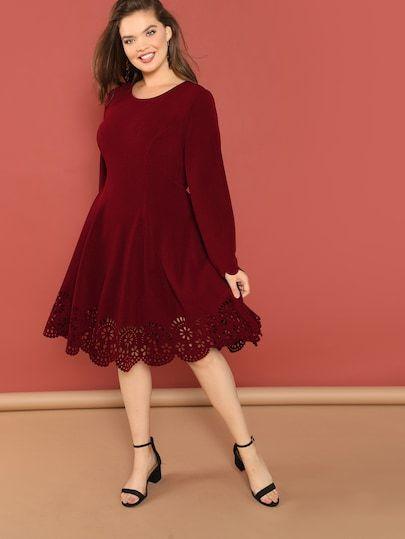 fe785e1911 Übergroßer Laser Cut Kleid | SHEIN | Mode in 2019 | Dresses, Fit ...