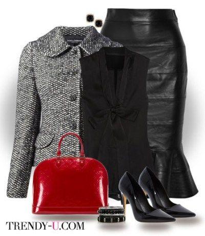 Черная кожаная юбка и блузка в тон