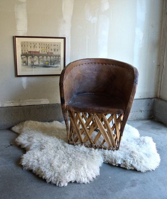 15 OFF  Vintage Leather Mexican Chair  Fun Chair by ThEeRabbitHole, $130.00