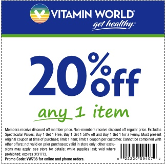 10 best vitamin world coupon images on pinterest coupon coupons vitamin world 20 off item printable coupon fandeluxe Gallery