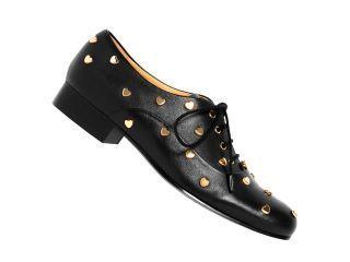 Scarpe stringate da donna di Love Moschino: mocassini neri con borchie a forma di cuore | Stylosophy