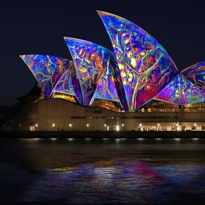 Lighting of the Sails. Sydney has once again been transformed into a spectacular canvas of Light, Music and Ideas as Vivid Sydney takes over the city after dark. #Australia