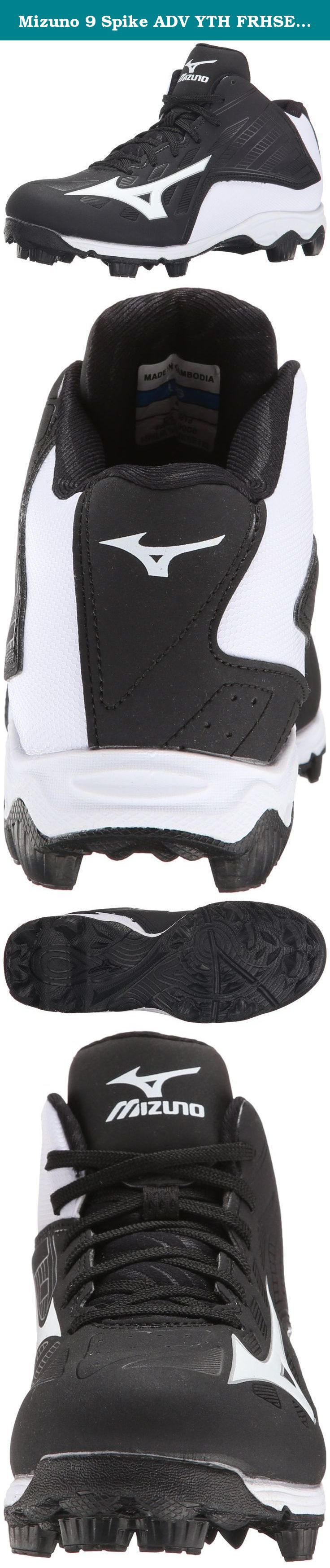 Mizuno 9 Spike ADV YTH FRHSE8 MD BK-WH Youth Molded Cleat (Little Kid/Big Kid). 9-Spike Advanced outsole for superior traction and comfort. Rubber studs provide comfort and durability for all field types. Full length mid-sole for maximum comfort. Style: 320506 .