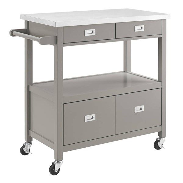 Sydney Gray Pine Wood Stainless Steel Caster Kitchen Cart