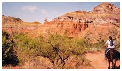 http://www.oldweststables.com/  Explore It (Palo Duro Canyon - near Amarillo in North Texas): Take a horseback ride through the Prairie Dog Town Fork of the Red River to see Spanish Skirt formations and a view of Sad Monkey Peak, named for the shape of the peak's cap rock ($35).