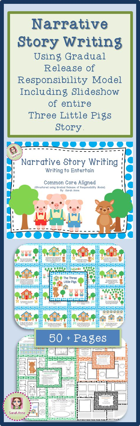 Australian Curriculum Aligned - Three Little Pigs' Narrative Creative Story Writing Unit of Work (58 Pages) - Modeled, Shared and Independent writing structured around the Gradual Release of Responsibility Model applied to the design and planning of unit This unit includes teacher notes and is adaptable to a range of ability or outcomes being targeted in your classroom. 58 pages included. #tpt #sarahanne #writing #grade1 #narrative #threelittlepigs #commoncore
