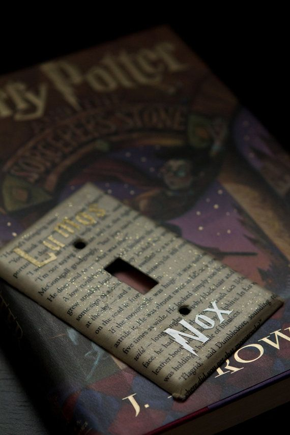 This stunning decoupage light switch cover features pages from the beautifully written, magical Harry Potter paperback books. Each piece contains a random portion from a special page of the novel along with the words Lumos and Nox in beautiful gold and silver lettering. A light