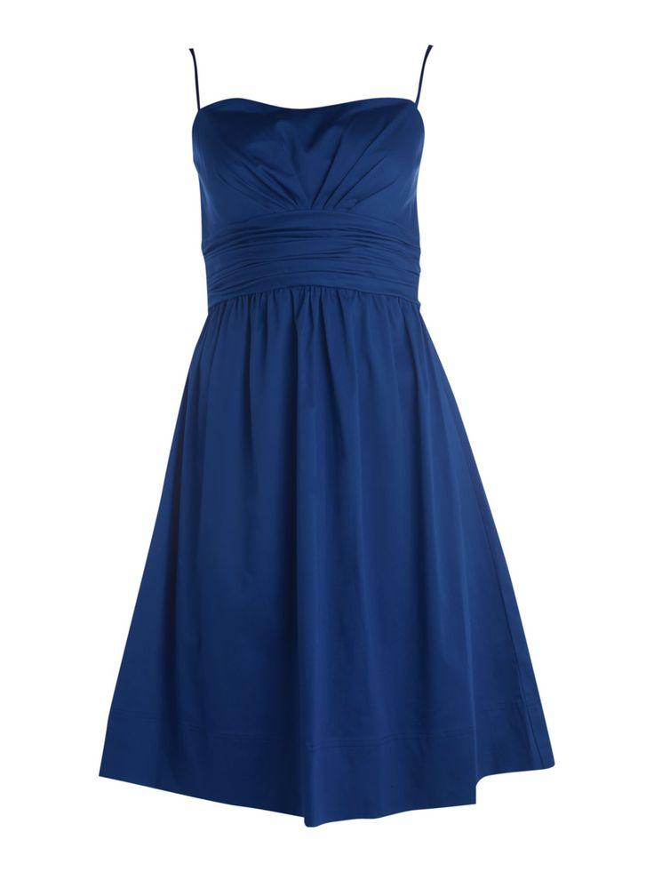 blue strapless bridesmaid dress