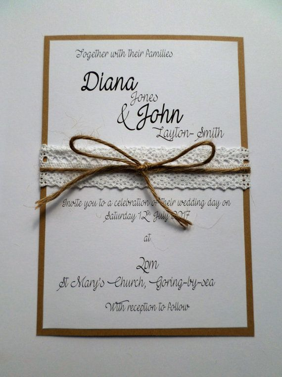 Handmade Budget Wedding Invitation  Rustic  by TheUniqueCraftingCo