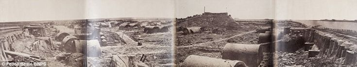 1860 Looking around: Interior of North Fort, Peiho. The folding panoramas of views gave many people in the Western world a first glimpse inside the Far East