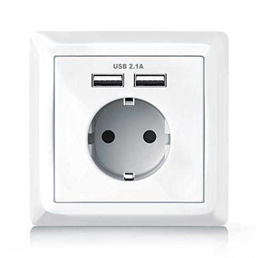 Brandson - Steckdose mit 2 x USB-Port + Abdeckung   Schutzkontakt-Steckdose   USB mit Smart-IC für optimale Ladeströme (Android/Apple)   bis zu 2100mA Ausgangsstrom (USB)   integrierte Kindersicherung