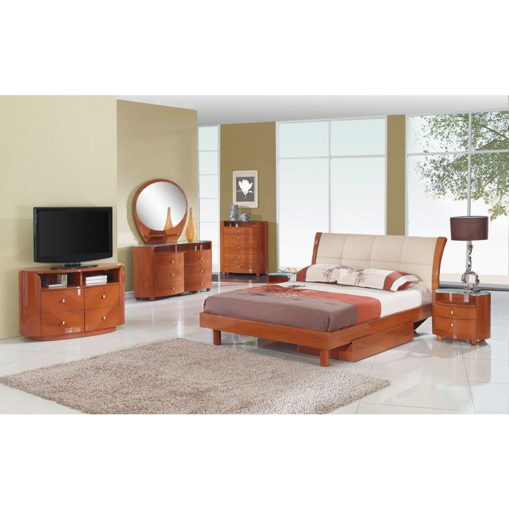 Global Furniture Evelyn King Size Bedroom Set In Glossy Cherry   EMILY CH
