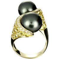 18k gold ring set with Tahiti pearls yellow sapphire and diamonds
