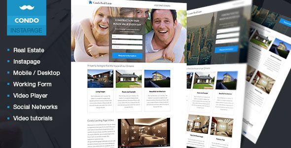 Condo - Real Estate Lead Generation Template . Condo has features such as High Resolution: No, Compatible Browsers: IE8, IE9, IE10, IE11, Firefox, Safari, Opera, Chrome, Compatible With: Instapage, Columns: 3