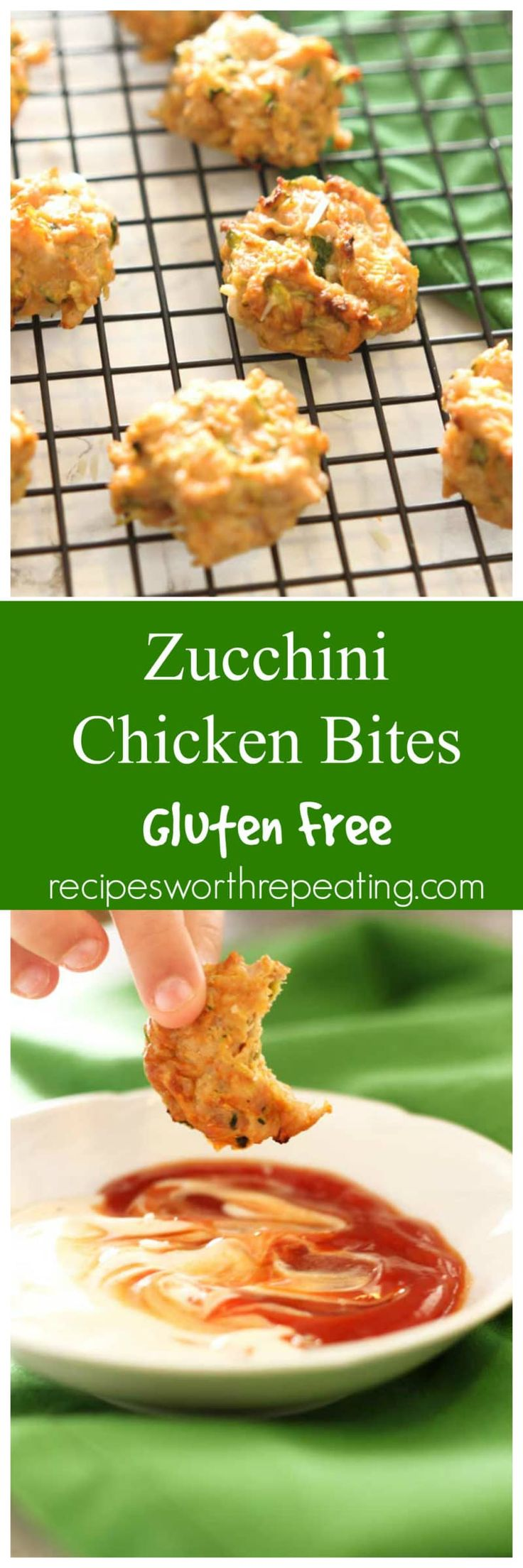 Zucchini Chicken Bites | Recipes Worth Repeating | These Zucchini Chicken Bites are easy to make, super healthy and packed full of protein! Mixed with freshly shredded zucchini, ground chicken and a little bit of spice, these little bites are perfect for an afternoon snack!