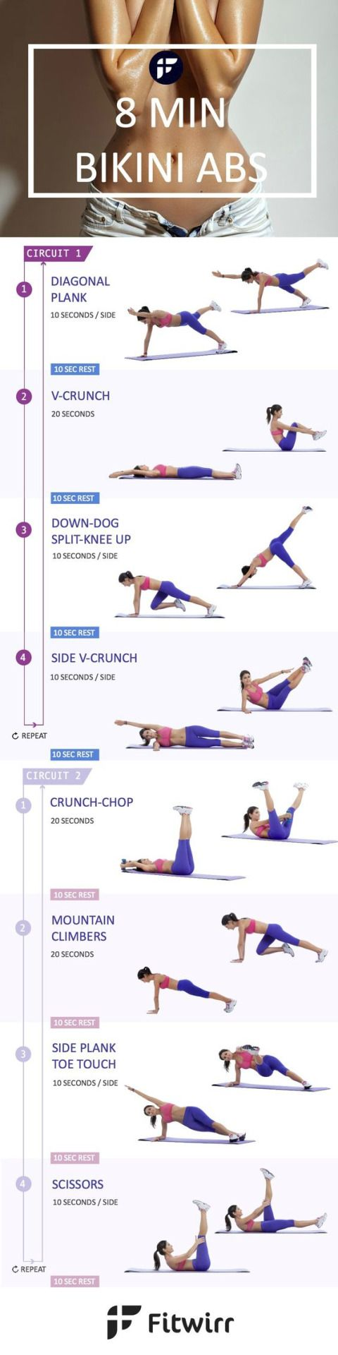 """fitnessforevertips: """" How to Lose Belly Fat Quick with 8 Minute Bikini Ab Workout """""""