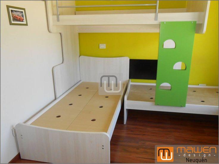cucheta desplazada con camas bajas para dormitorio de chicos teka rtico negro