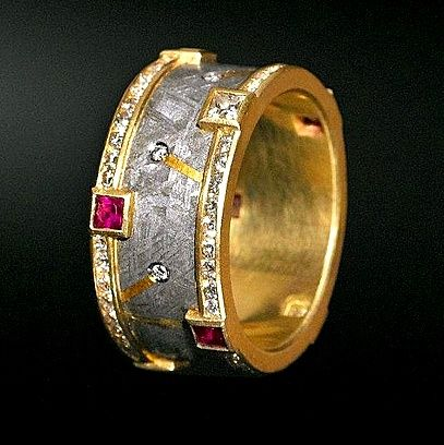 Jacob Albee Ring In Gibeon Meteorite 18k Amp 24k Gold