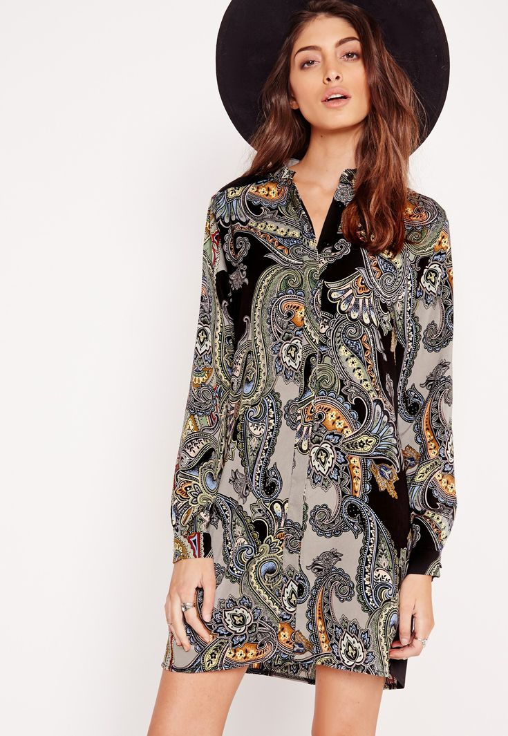 Missguided - Collarless Shirt Dress Paisley Print Multi