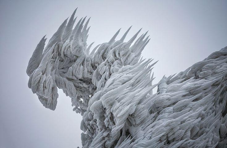 Sculptural Ice on a Mountain in Slovenia