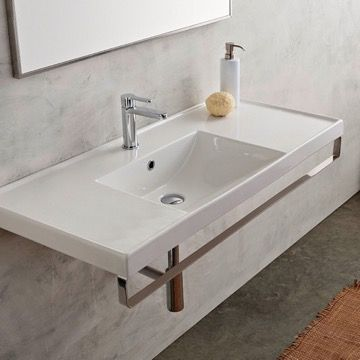 Rectangular Wall Mounted Ceramic Sink With Polished Chrome Towel Bar