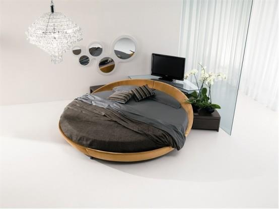 Unique Round Bed For Great Bedroom: Simple And Elegant Way To Use The  Circle Bed In A Modern Home With Smart Television And Glass Lampshade .