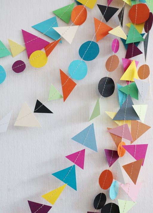 sewn paper garland...just cut out shapes and stitch with a sewing machine